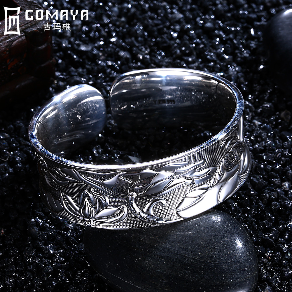 GOMAYA 999 Sterling Silver Bangles New design Fashion Vintage Antique Wide Cuff Bracelet Retro Fine Jewelry Gift for Women все цены