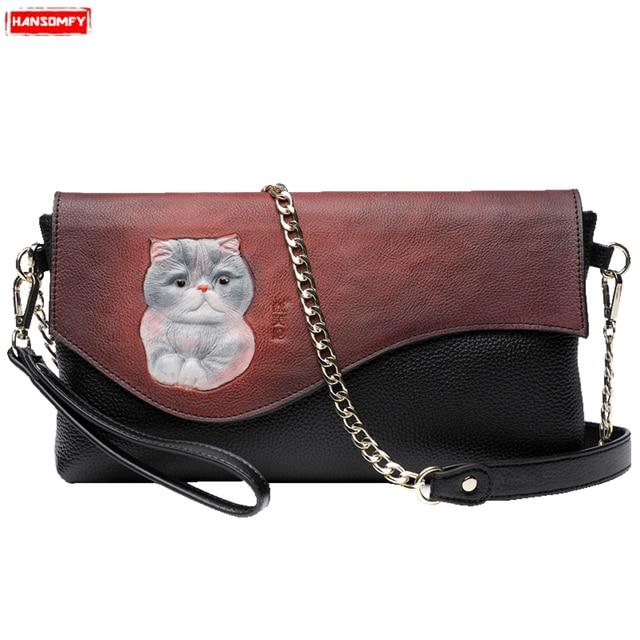 4e2413ebc6 New Women handbags genuine leather cat clutch bag original female chain  shoulder Messenger bag casual wild lady mobile phone bag