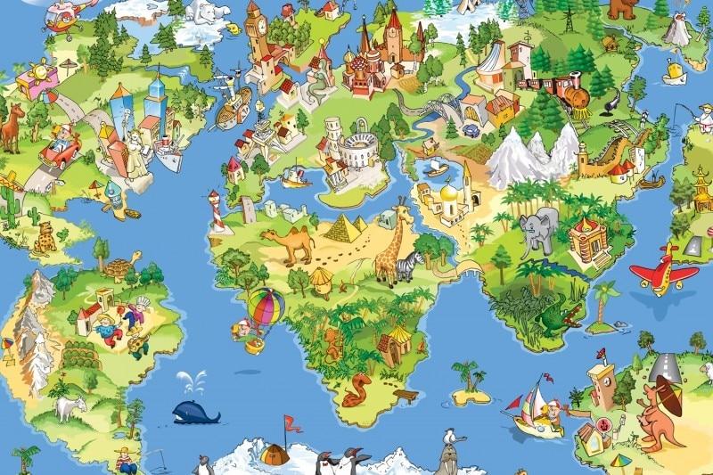 ShineHome DIY Cartoon Art Animal Map Country D Wallpaper Mural - Cute world map wallpaper