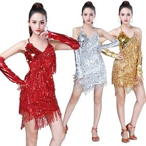 Image 1 - פאייטים תלבושות נשים מבריק המפלגה שמלת שמלות קצב סלוניים סמבה רומבה טנגו שלב למבוגרים פרינג ריקוד לטיני שמלה