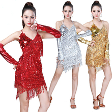 Pailletten Latin Dans Kostuum Vrouwen Shiny Party Dress Jurken Ritme Ballroom Samba Rumba Tango Stage Volwassen Fringe Latin Dans Jurk
