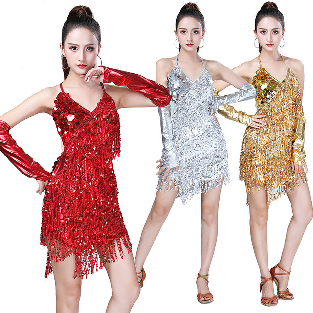 Traje de baile latino con lentejuelas para mujer, brillantes vestidos para fiesta, baile latino con flecos, Samba, Rumba, Tango