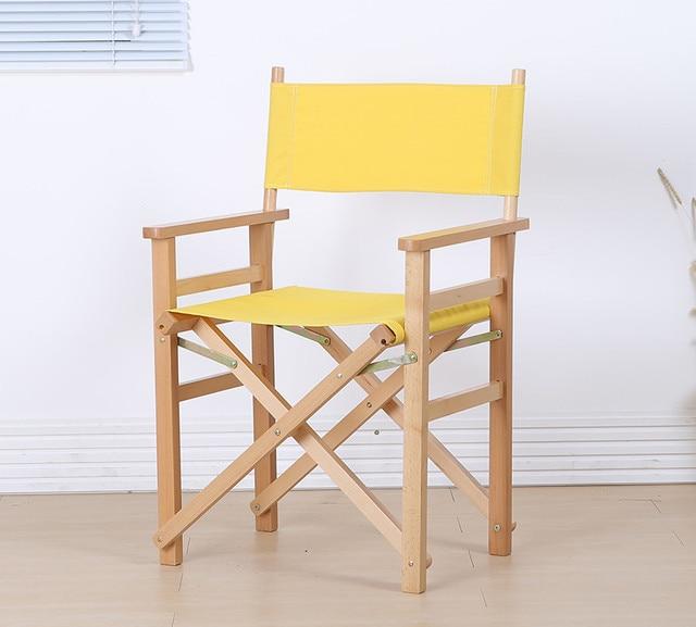 Modern Director Folding Armchair With Canvas Outdoor Garden Furniture Chair Foldable For Makeup Artist Wooden