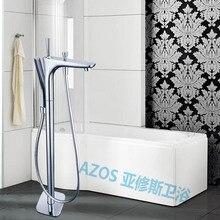 Floor Stand Grifería bañera de Estilo Moderno Cromado Mezcladores De Agua De Cobre Asimiento de la Mano de Baño Ducha Sauna Kit LDTZ009