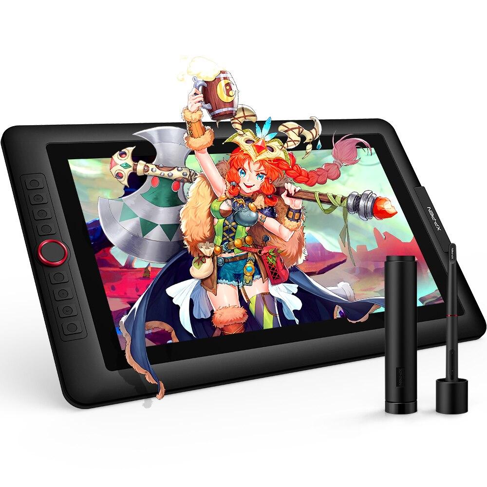 XP-Pen Artist15.6 Pro tablette de dessin graphique tablette numérique câble USB cadran rouge avec fonction d'inclinaison de 60 degrés et 88% NTSC