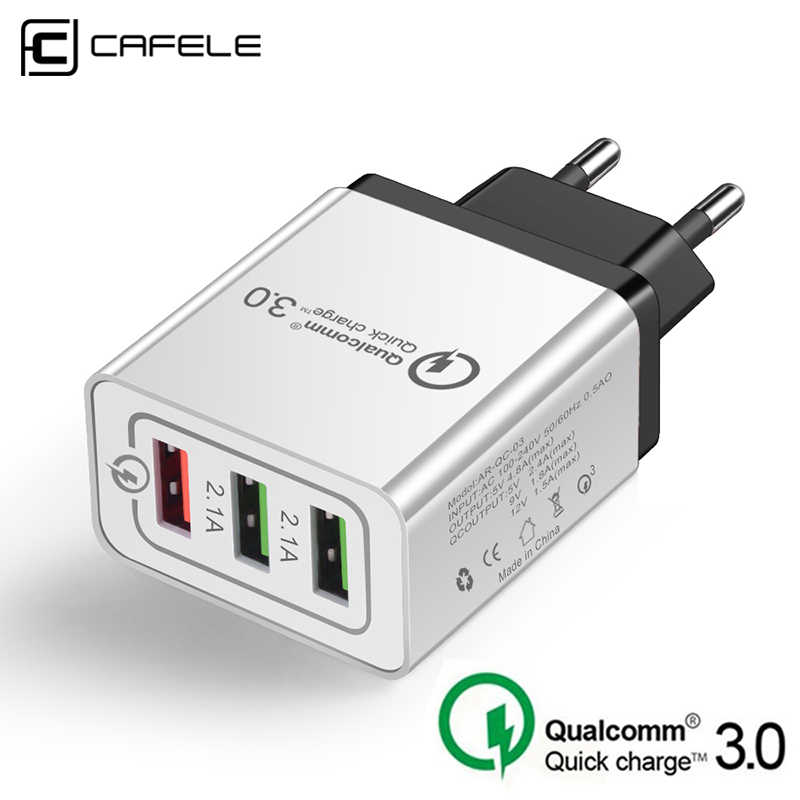 CAFELE USB Charger 18W Quick Charge 3.0 Fast Charger EU Plug Phone Charging Charger Adapter for iPhone Samsung Xiaomi Huawei