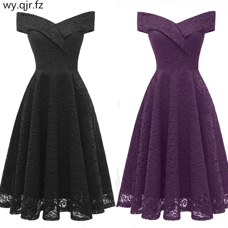 CD1610H#Boat Neck Lace Prom Dresses Short Black Violet Wine Red Party Dress Girl Gown Wholesale Cheap Clothing 2019 New Spring