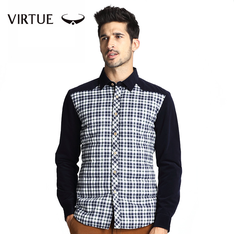VIRTUE Men's winter fashion light feather men leisure shirt with long sleeves to keep warm and more wool shirt jacket