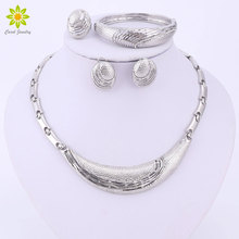 Vintage Charm African Beads Jewelry Sets For Women Silver Plated Necklace Earrings Bracelet Rings Party Dress Accessories