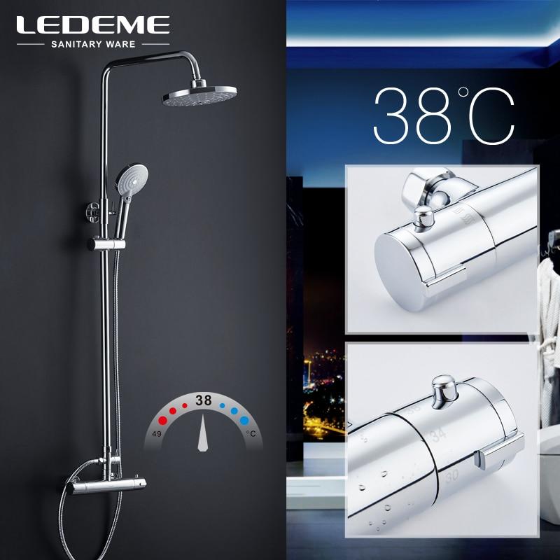 LEDEME Modern Style Bathroom Shower Faucet Set Rainfall Head Mixer Taps Hand Shower Waterfall Rain Bathroom