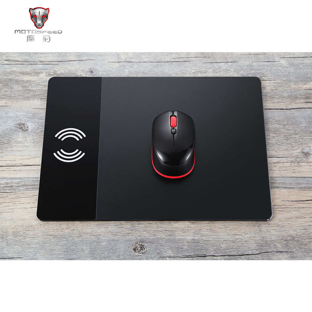 MOTOSPEED Mouse Pad Wireless Charging Mouse Pad Wireless Charger Aluminum Alloy thin Mouse Mat for iPhone