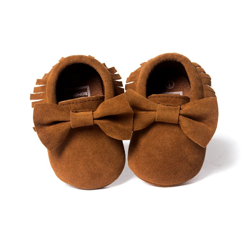 Newest Soft Sole Shoes Cute Bowknot Boy Girls Toddler Infant Moccasins Tassel Shoes 0-18M