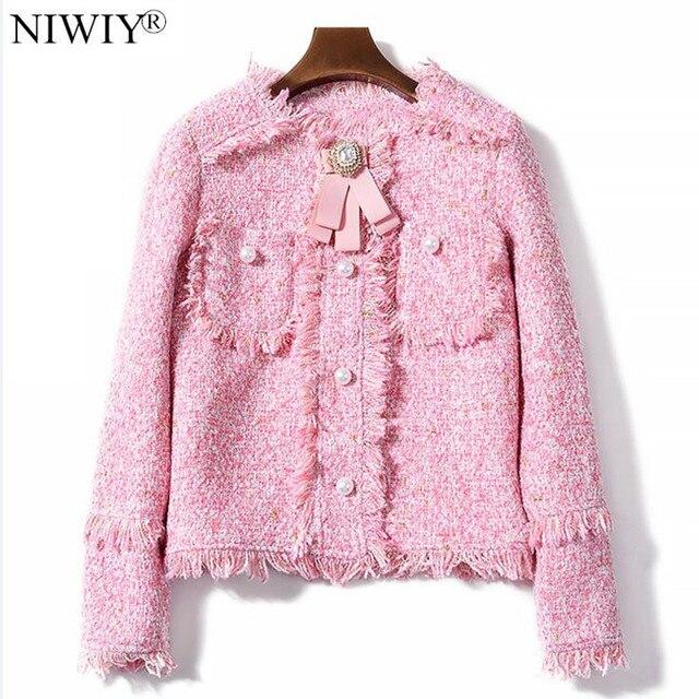 Chaquetas Jacket Autumn Brand Mujer Tweed Niwiy Tassel Pink Bomber Y0wFxdp