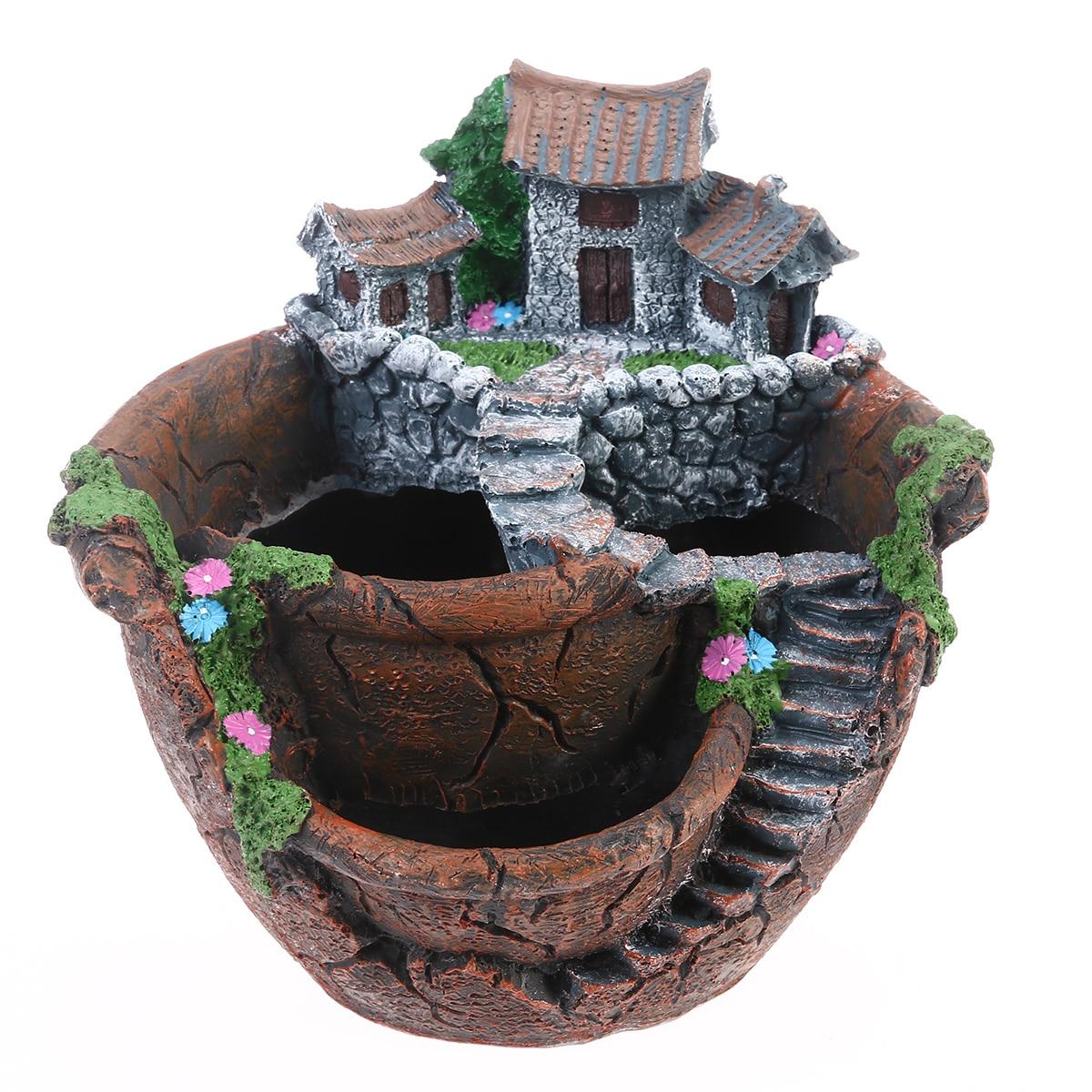 Micro Landscape Artificial Flowers Succulent Plants Pot Tiny Creative Flower Pot Holders Sweet House Garden Decoration 1