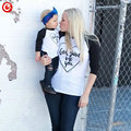 Matching Mother And Daugther/Son  T-shirt Clothes 2016 Autumn Long Sleeve Family Heart Letter Mommy And Me Look Clothing Outfits
