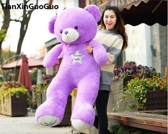 filled plush toy largest 150cm purple teddy bear plush toy flower stars bear soft doll hugging pillow Christmas gift h1454 stuffed animal 120 cm cute love rabbit plush toy pink or purple floral love rabbit soft doll gift w2226