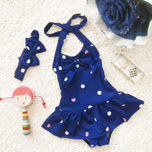 Kids Girl Conjoined Swimsuit Baby Cute Swimwear Girls Infant Bathing Suit Swimming Pool Dress One Piece Blue Red S M L XL цена