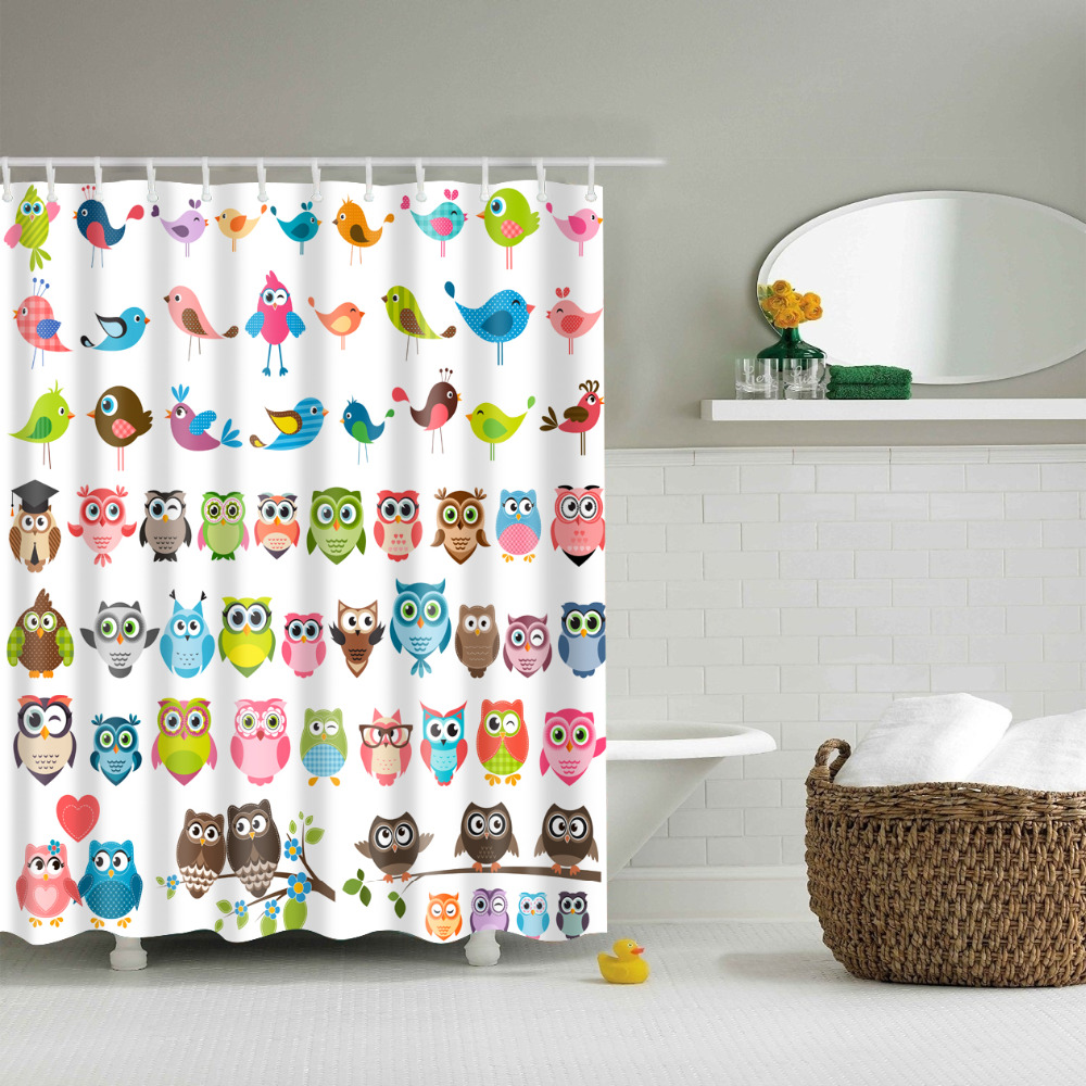 Owl shower curtains - Cartoon Colorful Owls Print Shower Curtains Waterproof Bathroom Curtains Polyester 180x180cm Decoration With Hooks China