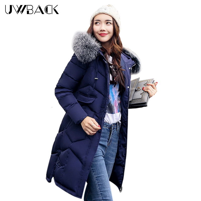 Uwback Women Cotton Padded Coat Winter Medium-Length Jacket with Faux Fur Hood 2017 New Female Casual Soft Parka Thicken, EB261 uwback women winter jacket faux fur hood 2017 new female wadded jacket long cotton padded coat mujer warm parka slim eb249