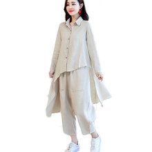 New Spring And Autumn Cotton Linen Two-Piece Long Shirt Top & Loose Pants Wide Big Trousers Clothing Set Casual Outfit