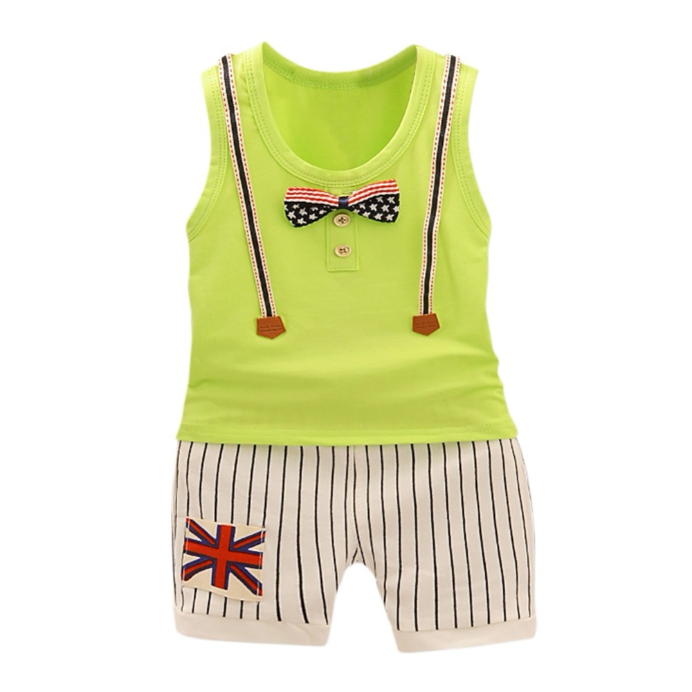 Children Boys Girls Summer Clothing Suits Baby Vest Shorts 2Pcs Cotton Vest+ Shorts Kids Star Clothes Toddler Tracksuits