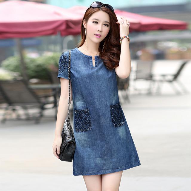 High Quality Summer Dress 2016 Denim Dress Women Loose Fashion Casual Mini Jeans Dresses For Women Plus Size Women Clothing 5XL