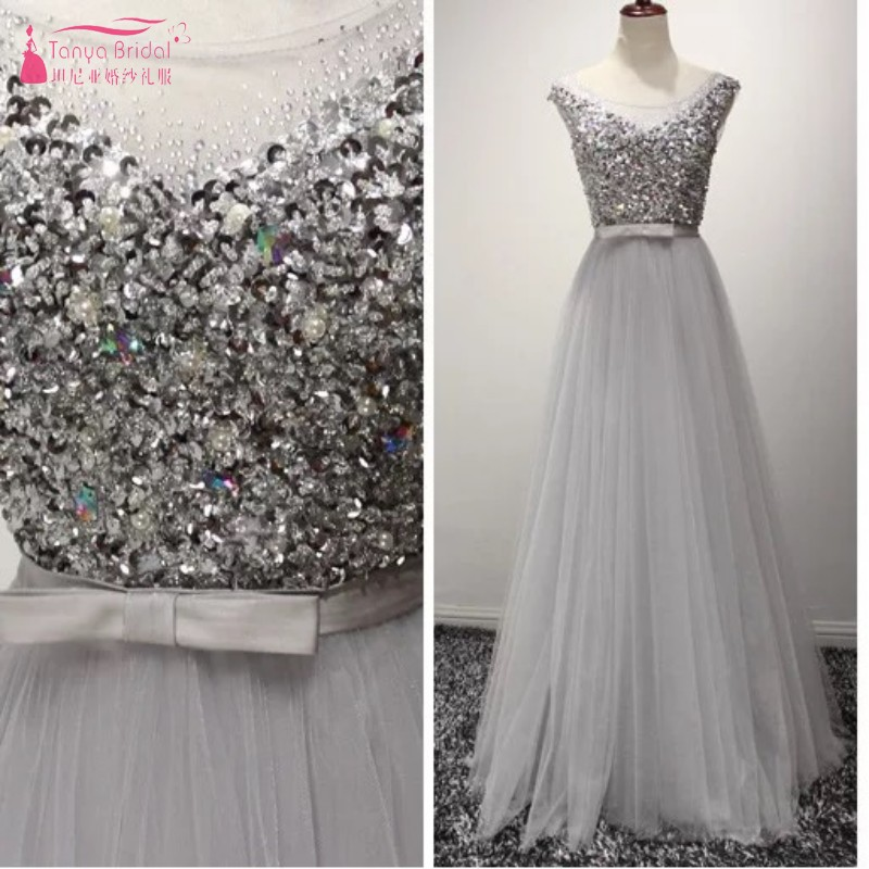 A Line Slivery Sequins Crystal Tulle   Prom     Dresses   Simple Style Evening Formal Lady   Dress   Gown DQG368