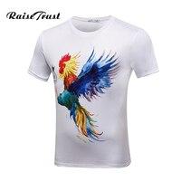 2017 Hot Selling Men Summer Tee Shirt Fashion 3d Printing Colorful Cock Black White T Shirt