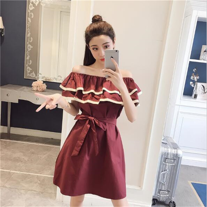 2018 summer new word collar lotus leaf lace short-sleeved high waist party dress A word dress