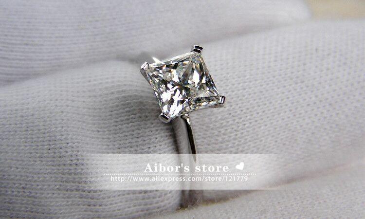 TR1051 карат/2 карат Принцесса Cut Кольца для Для женщин серебра Сона Имитация камни Обручение кольцо, пасьянс кольцо с акцентами