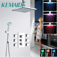 KEMAIDI Wall Mounted 8 10 12 16 Inch Chrome Shower Faucet Column Set Single Handle LED Light Rain Shower Head and Handshower