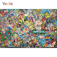 Yeele Decadent Graffiti Wall Grunge City Kids Baby Personalized Photographic Backdrops Photography Backgrounds For Photo Studio decadent
