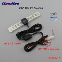 Liandlee ANT 2in1 Car TV Antenna Radio SMA FM Connector With Amplifier Booster Aerial AM RDS DVB-T ISDB-T ATSC #AM2045