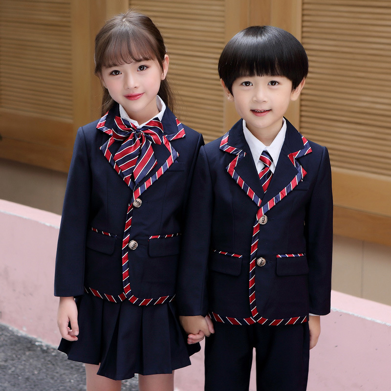 2018 new big children's clothing boys and girls wear suit children's autumn new casual British school uniform two-piece autumn and winter wear new suit children sweater hooded culottes two piece suit for girls