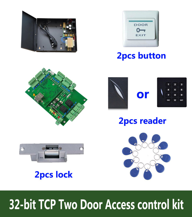 RFID 32-bit access control kit,TCP/ip two door access control+powercase+strike lock +ID reader+exit button+10 ID tag,sn:kit-T201 biometric fingerprint access controller tcp ip fingerprint door access control reader