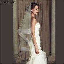Свадебные аксессуары, свадебная вуаль с ленточным краем и кончиком конского волоса 2 дюйма, свадебная вуаль, кринолин, 2 слоя вуали