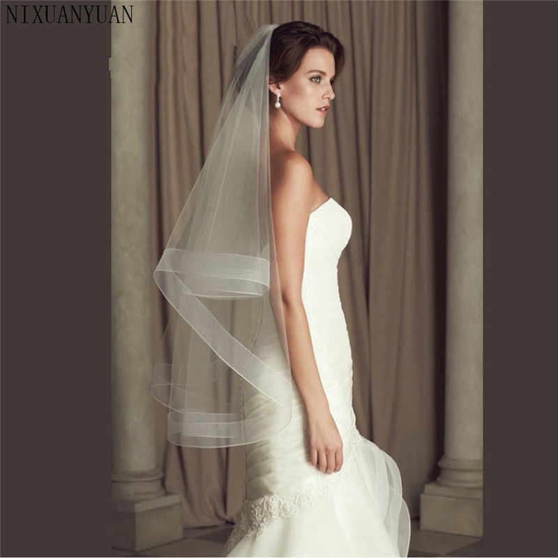 "Wedding Accessories Ribbon Edge Fingertip Veil with 2"" Horsehair Trim Fingertip Wedding Veil Bridal Veil Crinoline 2 Tier Veils"