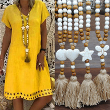 Fashion Bohemian Jewelry Semi Precious Stones Long Knotted Matching Stone Links Tassel Necklaces For Women Ethnic Necklace