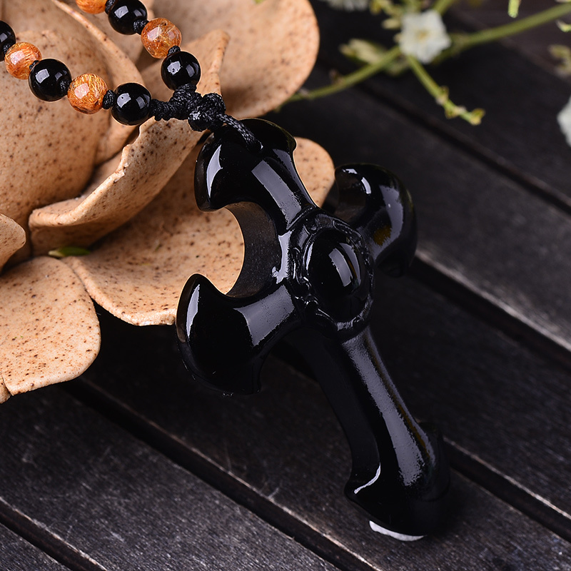 Pretty Natural Black Obsidian Carved Cross Lucky Pendants free Beads Necklace