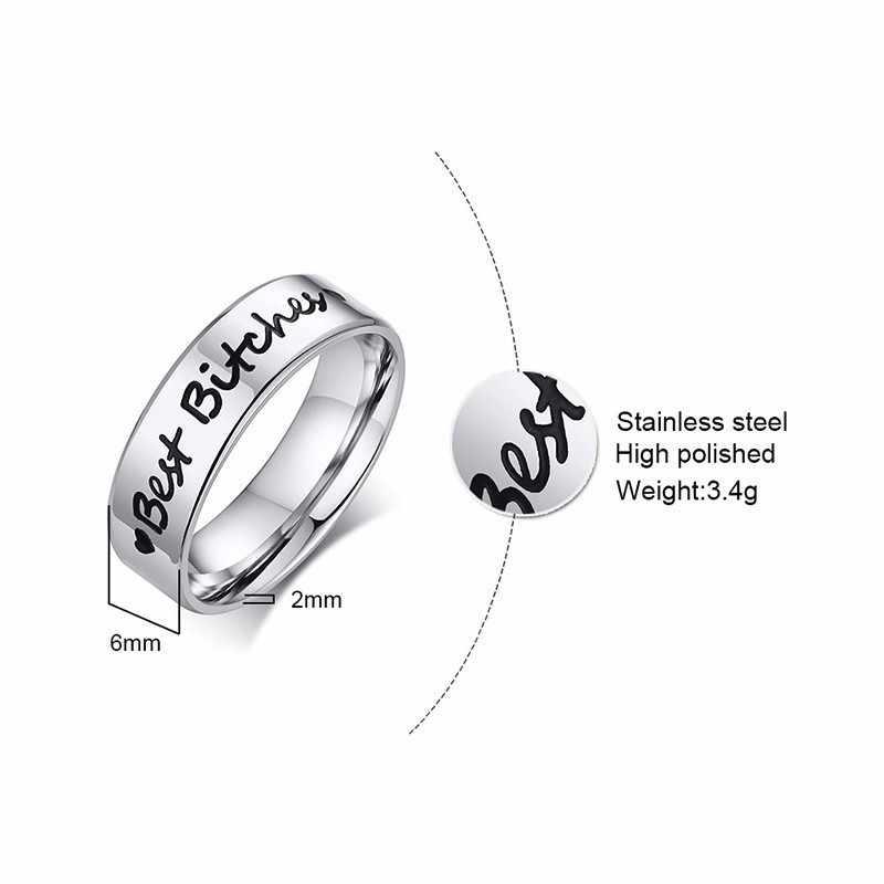 בסיסי 6mm BFF בנות הטוב ביותר חברים טבעות לנשים תכשיטי אהבה אחיות לב להקות טבעת נירוסטה ברית ידידות מתנות
