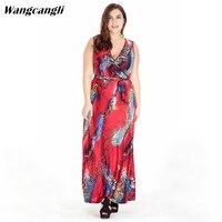 Summer Dress Bohemian Style Sleeveless Printing Dress V Neck Europe Large Size Dress Plus Size XL