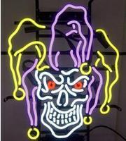Шут череп магический стеклянный неоновый свет знак пивной бар