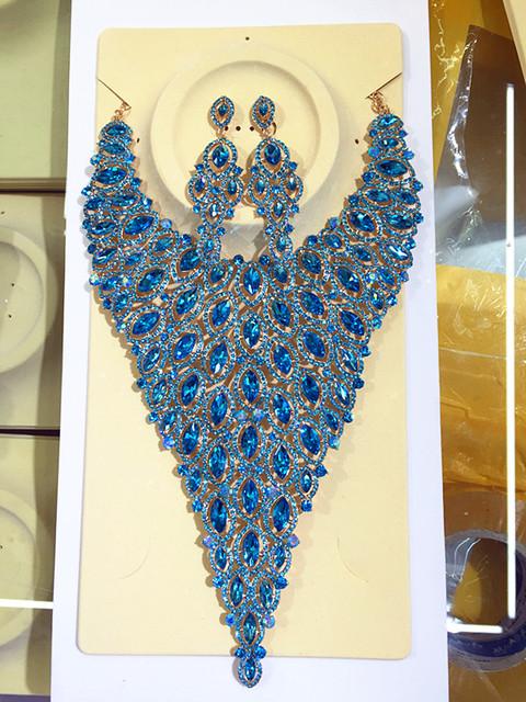 2017 Nueva África joyería de la Boda Establece Plena Forma de Gota de Cristal Austriaco Collar de Los Pendientes Para Las Mujeres Joyería Nupcial Sets XNG009