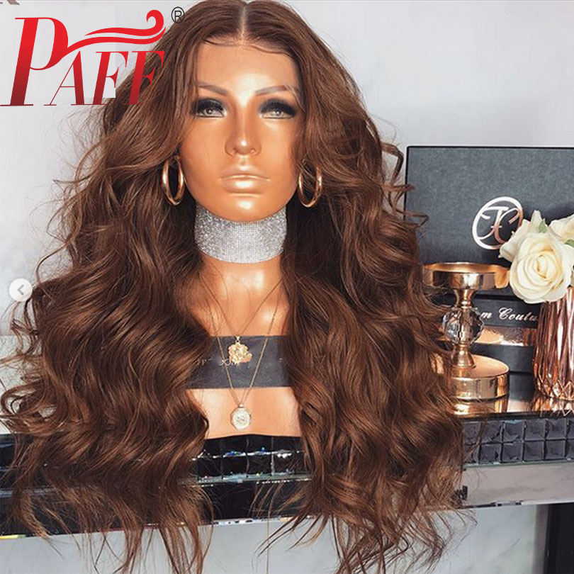 Brown Human Hair Full Lace Wigs Body Wave 180% Density Brazilian Remy Hair Middle Part Glueless Hair Wig With Baby Hair PAFF