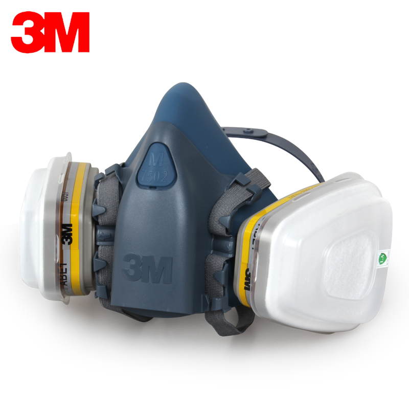 3M 7502+6057 Half face Respirator Mask Reusable Respirator Mask Against Dust/Organic gases/Chlorine 7 Items for 1 Set LY00 11 in 1 suit 3m 6200 half face mask with 2091 industry paint spray work respirator mask anti dust respirator fliters