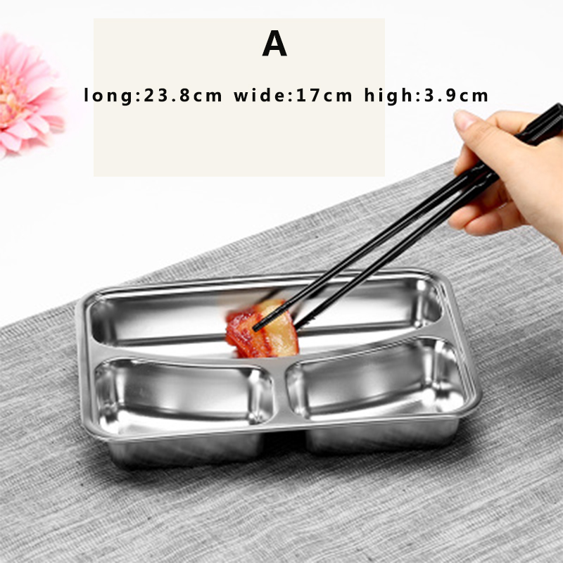 Stainless steel Rice Dish plate of student lunch box easy to clean Heat resistant adult lunch