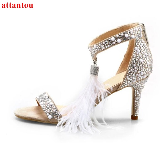Woman wedding shoes white feather rhinestones sandals cover heel open toe  super thin high heel shoes single ankle strap tassel-in High Heels from  Shoes on ... 099248699a63