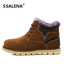 Winter Fashion Men Boots Vintage Style Casual Men High Top Shoes Lace-Up Warm Plush Anti-Slip Snow Boots Shoes D0467