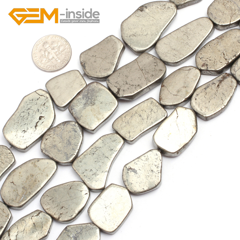 Natural Silver Gray Pyrite Gem Stone Freeform Nugget Flat Slab Sliced Beads For Jewelry Making 15