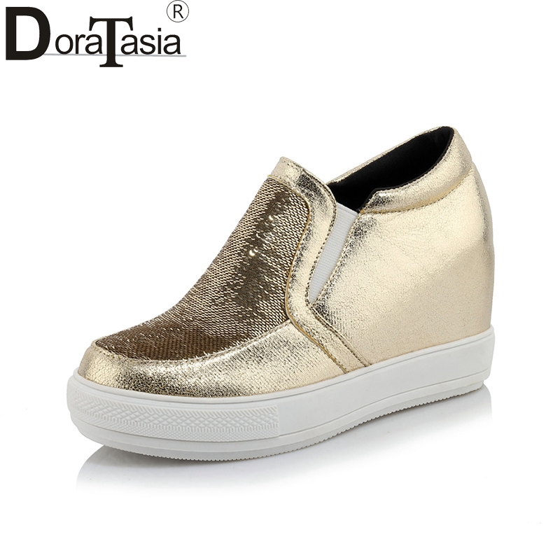 DoraTasia Spring Autumn Plus Size 32-45 Platform Loafers Slip-On Elastic Band Shoes Woman Height Increasing Casual Women Shoes free shipping spring autumn women s flatform casual all match board shoes height increasing shoes
